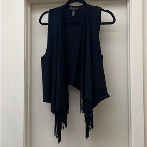 Inc open cascading fringe vest xl